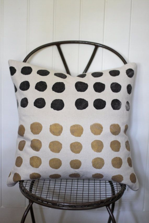 Dottie handprinted hemp pillow cover 20 x 20 in gold by melongings, $75.00