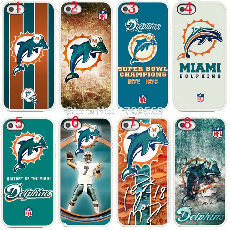 8pcs/lots NFL Miami dolphins hard White Skin case cover for iphone6 6S i7(4.7inch) and i6plus i7plus(5.5inch) Wholesale