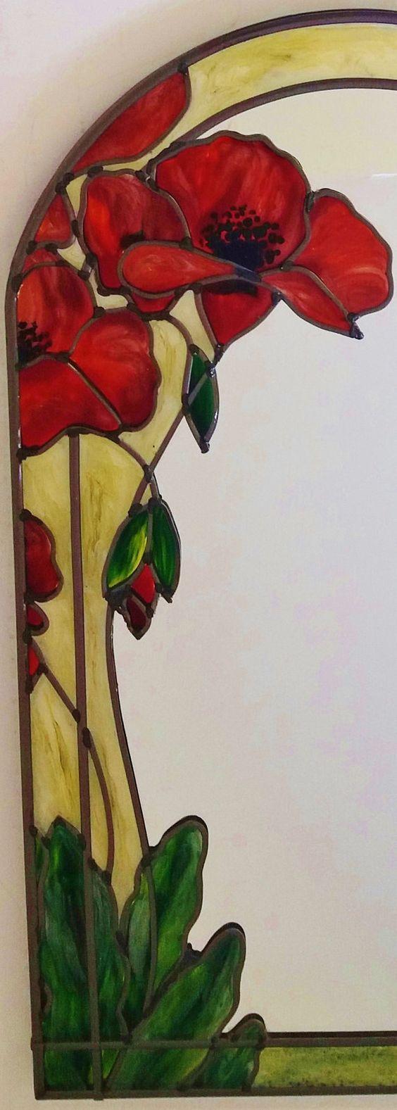 Espejo decorativo amapolas A medida de estilo Art Nouveau #StainedGlassMirror