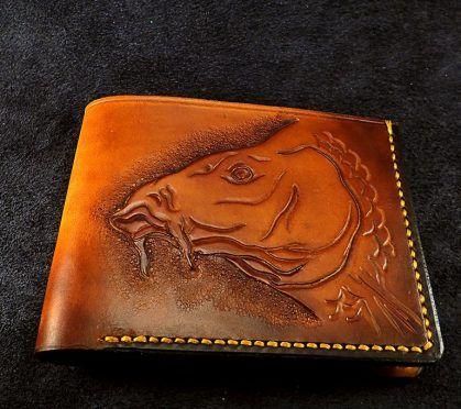 Leather carved carp wallet