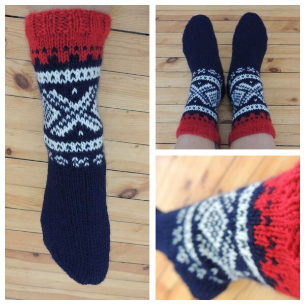 Marius-sock, women size 5.5 - 6.5 (str 36-38). Knitted in Peer Gynt yarn.