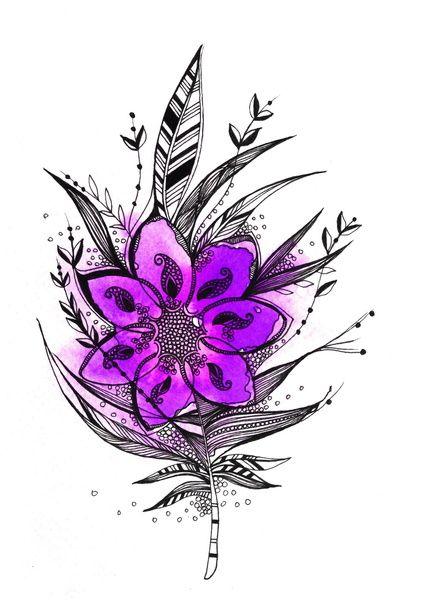 Purple Flower Feather Art Print by Himadri Pachori   Society6