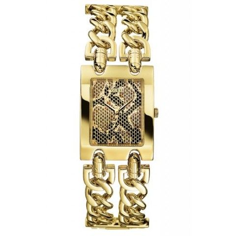 Guess Ladies Heavy Metal Python Dial Gold Chain Bracelet Watch
