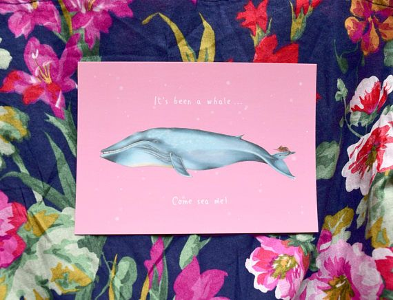 It's Been a Whale: Animal Postcard | Whale Wordplay Card | Long Distance Friendship | Gift for Best Friend | Hand drawing | Illustration