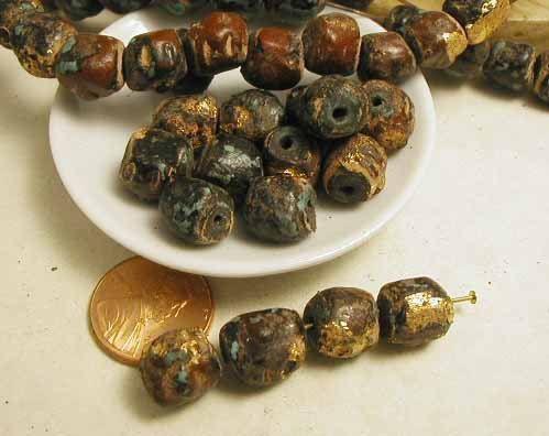Gold Leaf Mala Terracotta  12 pcs  Prayer by ByRobertaSupplies, $7.25