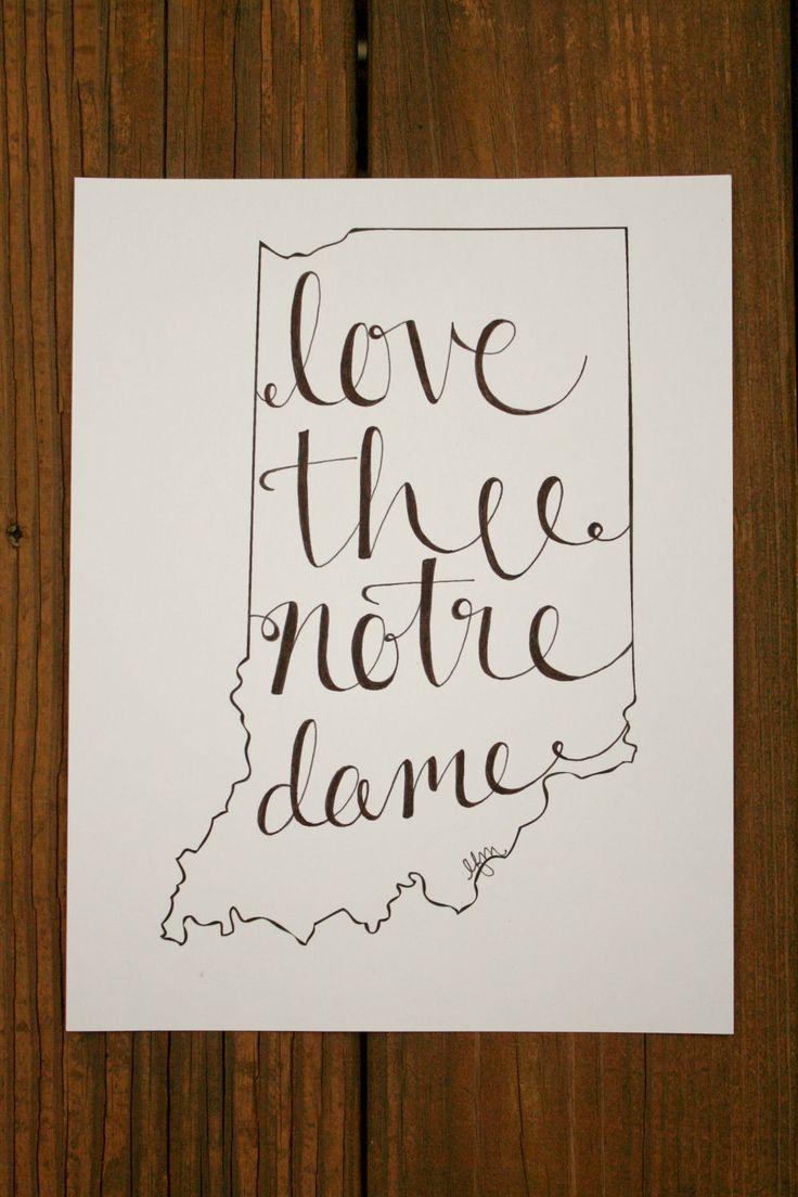 Indiana: Notre Dame Print. $15.00, via Etsy.