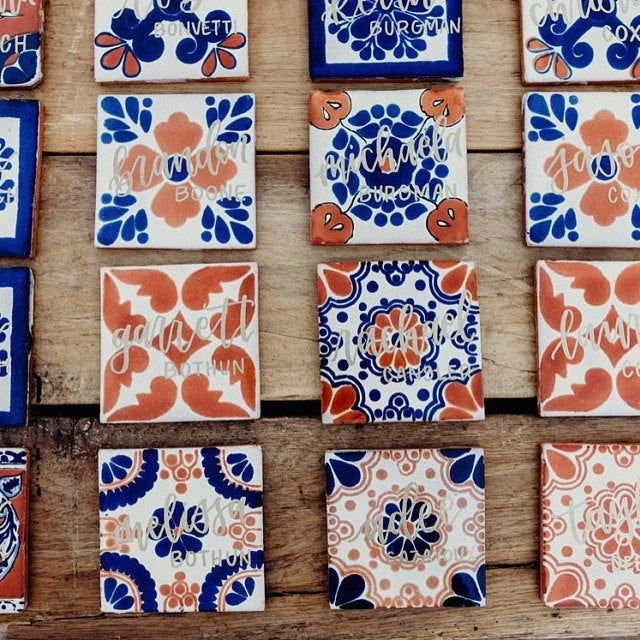 100 Pieces Mexican Talavera Tiles Handmade Terracotta Blue Mixed Designs Mexican Ceramic 4x4 Inch Talavera Tiles Hand Painted Mexican Talavera