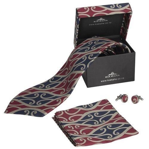 Kia Kaha Mens Boxed Navy Red Tie Set