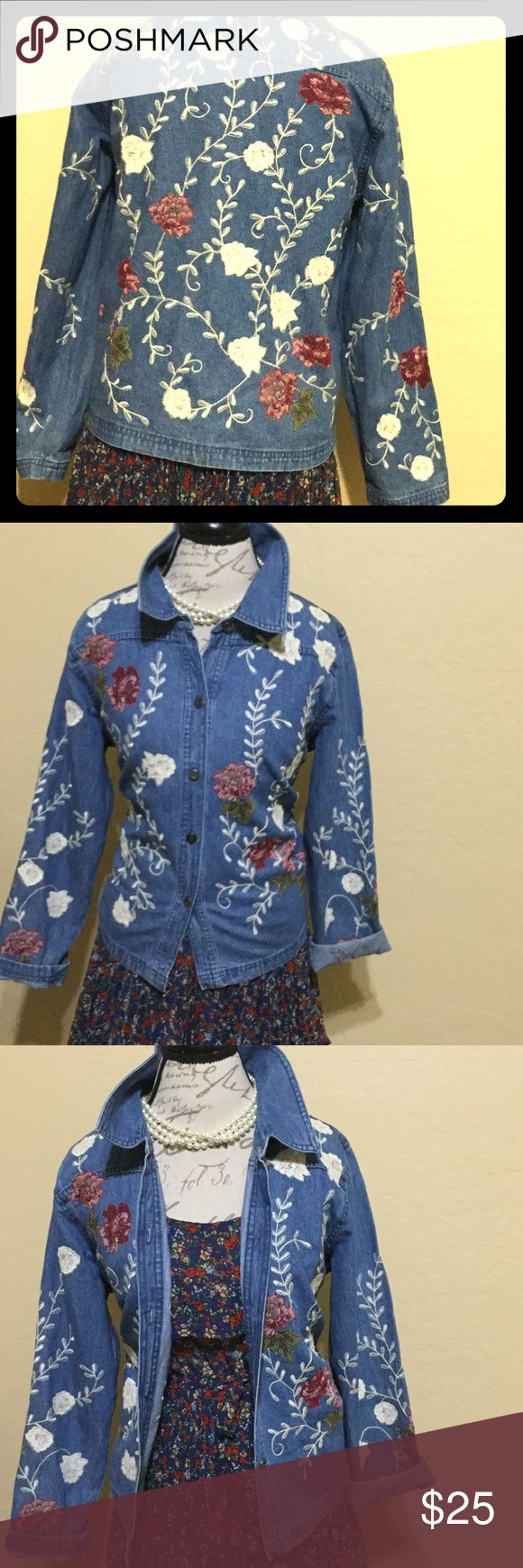 Trendy AF SO hot right now Embroidered Roses Denim Retro wonder! Denim & Co. granny chic insta trendy rise all over embroidered EUC relaxed fit denim shirt! The search is over 👍🌹🌹🌹🌹🌹🌷🌷🌷🌷🌷🌷🌷21' pit to pit and 20' long shoulder to hem. Fits 12-14 fitted  like style inspiration and anything smaller boyfriend style👍 Vintage Tops