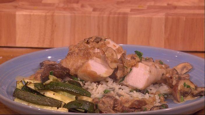Chicken in porcini mushroom sauce and wild rice