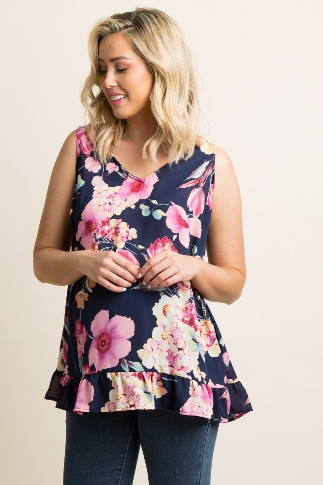 Floral print chiffon ruffle trim maternity top. V-neckline. Cutout back. Sleeveless. This style was created to be worn before, during, and after pregnancy.