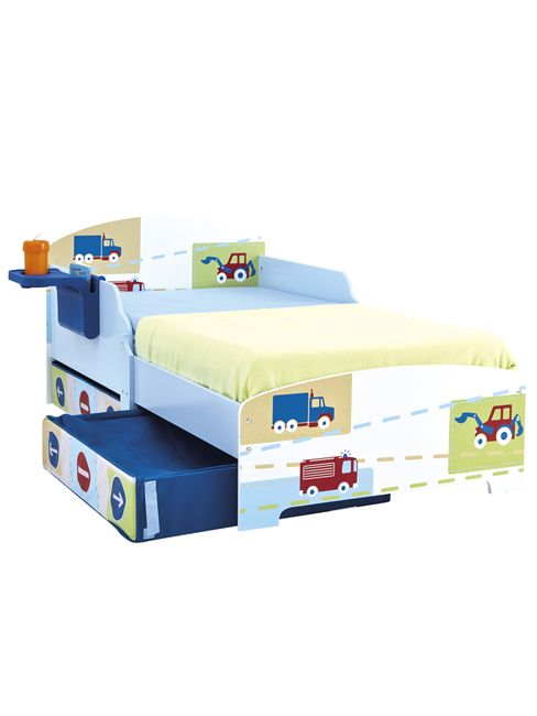 Boys Trucks n Tractors Toddler Bed with Storage and Shelf. Matching items at Play Rooms