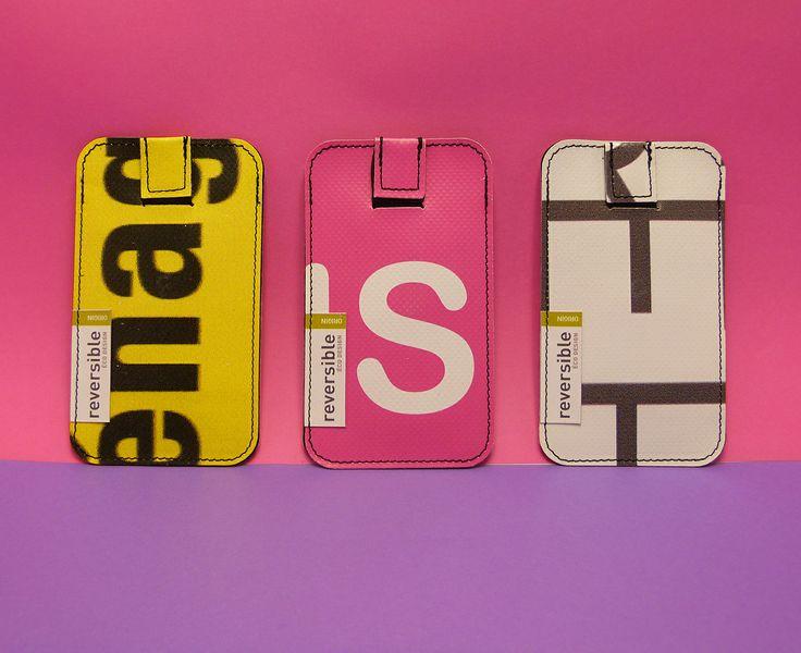 Housses téléphone réalisées à partir de bâches publicitaires PVC usagées - Reversible Eco Design