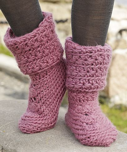 Sweet Spirited by Drops Design - Cutest Knitted DIY: FREE Pattern for Cozy Slipper Boots (pink ones are crochet)