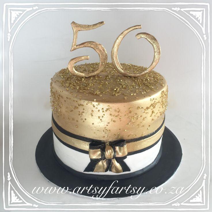 Metallic 50th Cake #metalliccake #50thcake