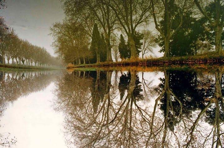 Canal du Midi winter scene