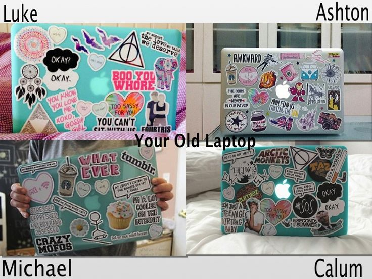 Your old laptop with stickers 5sos preferences for 5sos room decor ideas