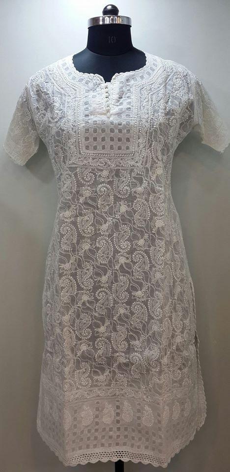 Lucknow Chikan Online Kurti White on White Cotton with very fine chikankari murri, shadow, kangan & applique (daraz) work with designer neckline $38