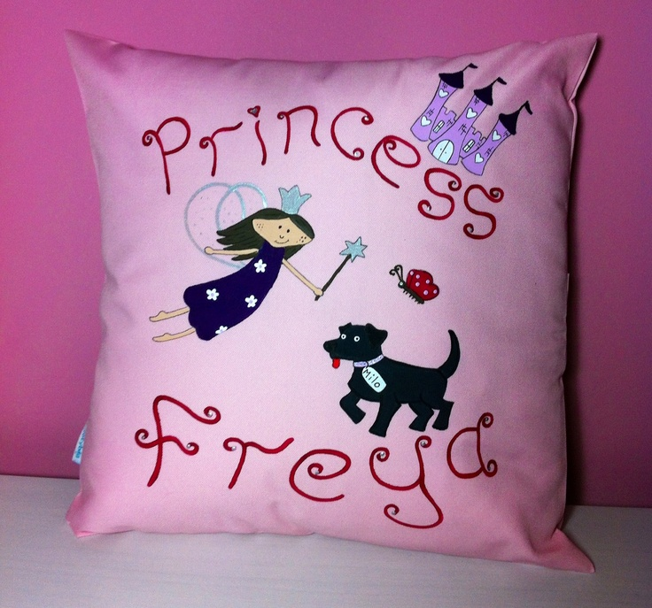 Princess and her pet dog cushion