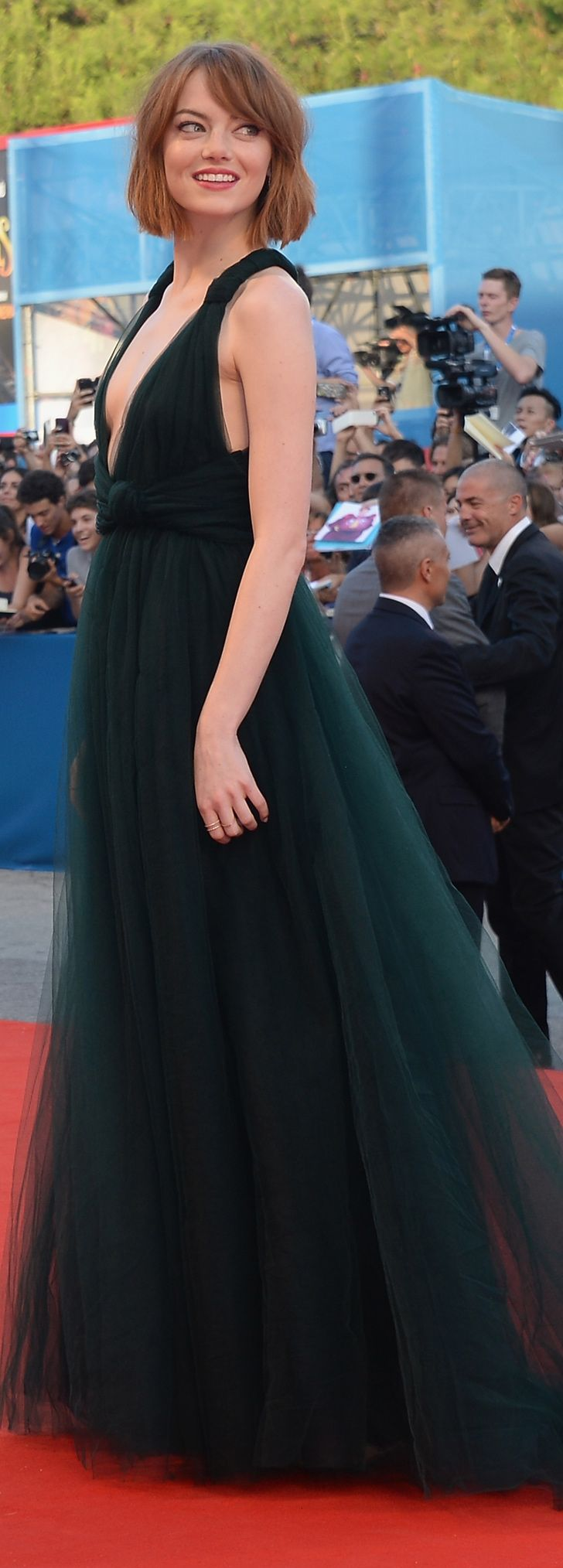 Emma Stone in Valentino at the Venice Film Festival premiere of Birdman.