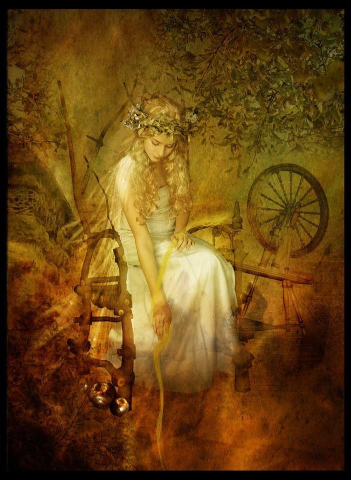 Norse Goddess Frigga, wife of Odin... looks like Sleeping Beauty and the spinning wheel