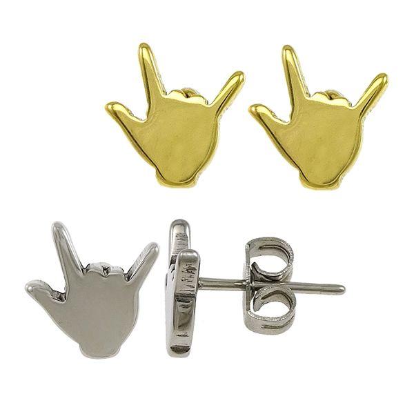 Mode I Cinta Anda Simbol Tangan Batu Bentuk Stud Earrings tinggi dipoles Emas warna Stainless Steel Ear stud tubuh perhiasan