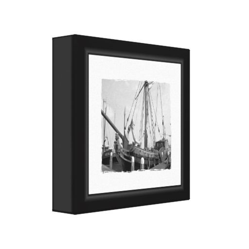Black And White Boat Canvas Gallery Wrapped Canvas