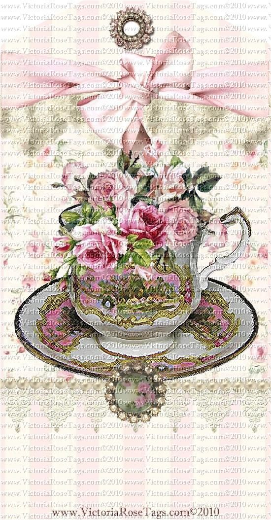 A Victoria Rose Cottage Teacups & Roses Set 2