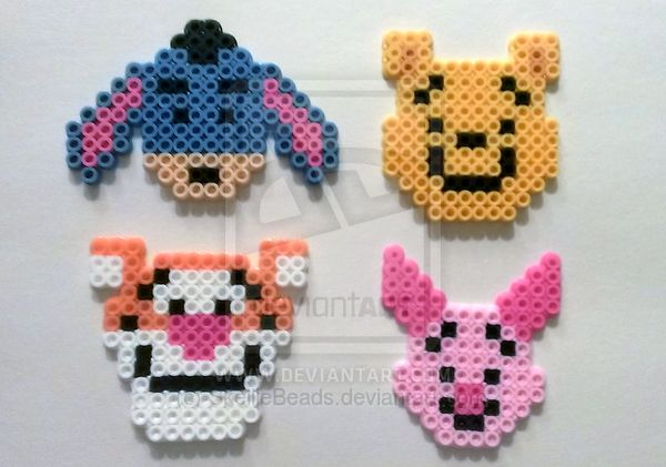 Winnie The Pooh and Pals perler beads by SkellieBeads on deviantART