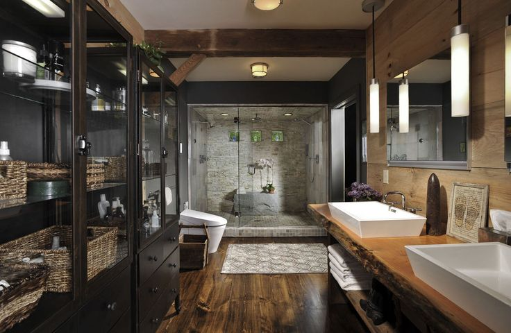 Not a fan of the black walls but the Wood and Stone in this bathroom is just gorgeous! biophilic design + feng shui.
