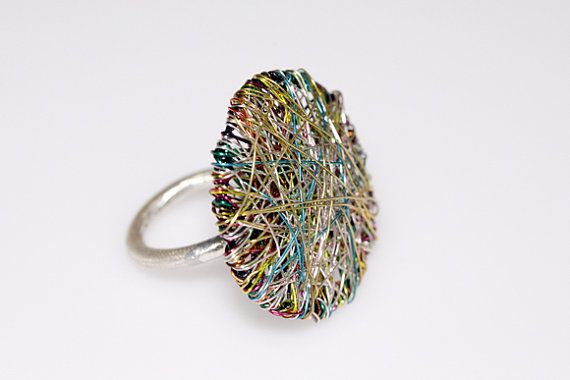 Round ring, wire geometric ring, green ring, art ring, modern minimalist ring, contemporary, statement ring, Christmas gift, women's gift  Handmade round wire art ring, made of colored copper wire and silver. The overall size of the geometric modern minimalist, statement ring is 3cm (1.18in). The base of the contemporary jewelry, unusual women's gift is silver 925. The ring is available with an adjustable base. Take a look at the base of this design