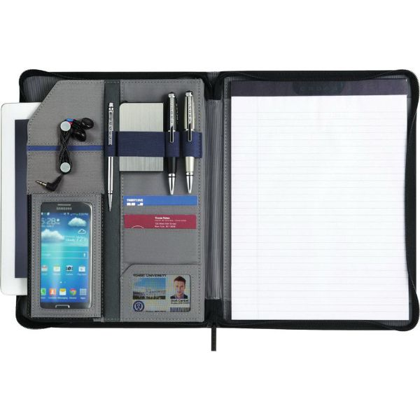 "This Cross(R) prime zippered Padfolio bundle set has a Cross(R) prime zippered Padfolio with an 8.5"" x 11"" Cross(R) writing pad and a Cross(R) signature accessory pen. This set features a zippered closure, a scratch-proof tablet pocket with Velcro(R) closure, an organizational panel with pen/stylus loops, an elastic loop for a mini power bank, a cord wrap for ear buds, business card pockets and a universal smartphone case."