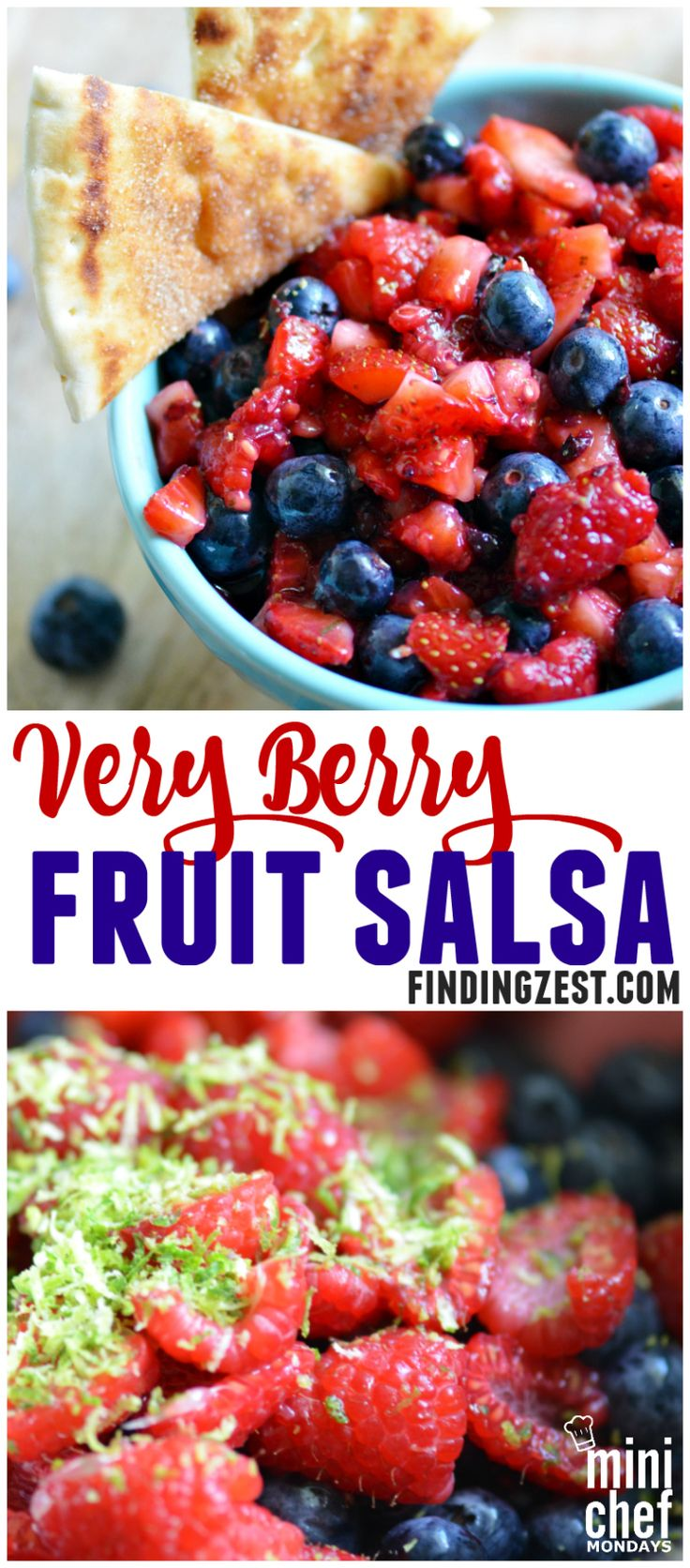 Very Berry Fruit Salsa: Enjoy this berry fruit salsa for summer. Featuring strawberries, blueberries and raspberries,this salsa can be served with cinnamon & sugar flatbread, tortilla crisps or your favorite chips!