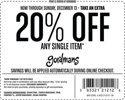 Current Gordmans Coupons This page contains a list of all current Gordmans coupon codes that have recently been submitted, tweeted, or voted working by the community. Verified Site.