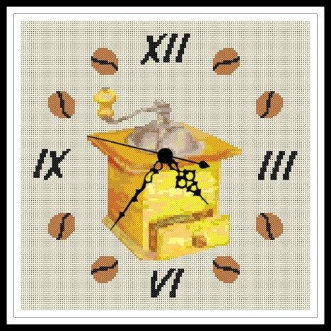 """Gráfico para punto de cruz de un """"Reloj Molinillo"""" de tonos amarillos."""