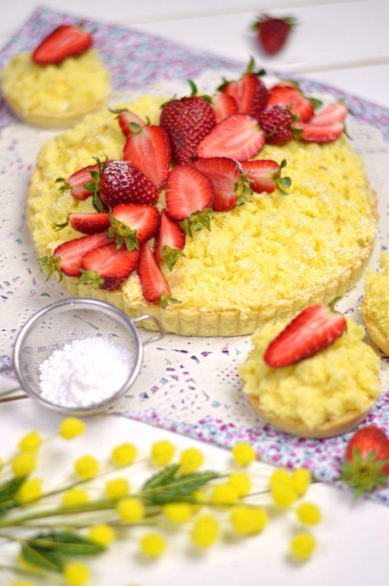 Crostata mimosa Nutella mascarpone e fragole