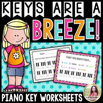 The six PDF worksheets included in the Keys Are A Breeze! piano keyboard packet are sure to help your beginners learn the letter names of the piano keys in no time. **This product is included in the Beginning Piano MEGA BUNDLE for Elementary Students, Groups, Camps, and More!The worksheets in this packet review the piano keys in a variety of ways  coloring the piano keys, writing the letter names on the keys, labeling the piano keys with a variety of shapes, identifying specific piano keys…