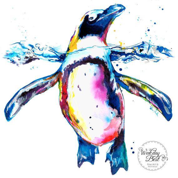 Colorful PENGUIN Art Print of original watercolor por WeekdayBest