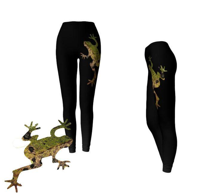 #Black #Printed #Leggings #Frog #Animal #Fashion #Yoga #Exercise #Leggins #Workout #Capris #Sportswear by WhimZingers on Etsy $49