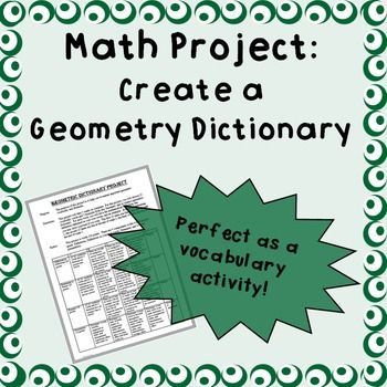 This project asks students to create a dictionary with 25 geometric terms and 5 geometric formulas from a completed Geometry unit (unit NOT included).  Students define the terms/formulas, rephrase each in their own words, and give a visual example of each.