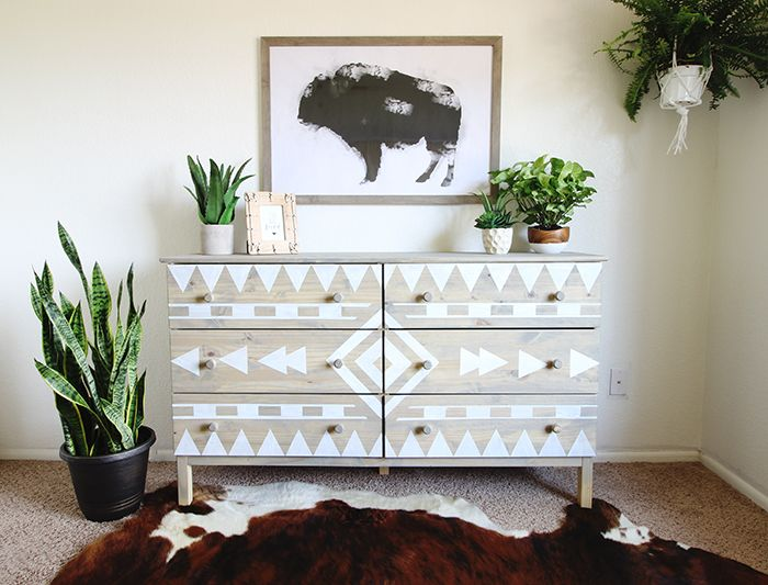 Dark Wax on Raw Wood–Aztec Dresser Makeover