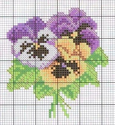 Pansy miniature needlework chart