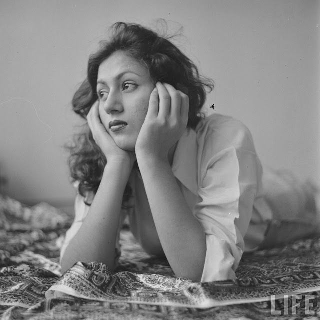 Hindi Movie Actress Madhubala in Her Room - Photographed by James Burke in 1951 - Old Indian Photos