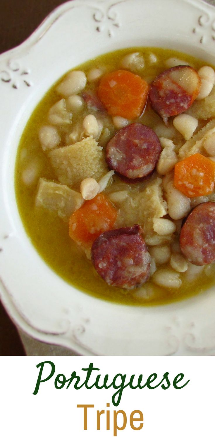 Portuguese tripe | Food From Portugal. A typical Portuguese dish, white beans wrapped with tripe, confectioned in a sautéed of olive oil, onion, garlics, bay leaf, chorizo and carrots, seasoned with pepper and salt. #tripe #recipe