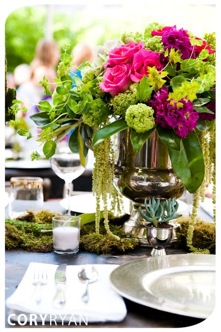 Fun combination of colors: deep pink, magenta, lime greens. Would be fun for rehearsal dinner or bridal shower?: