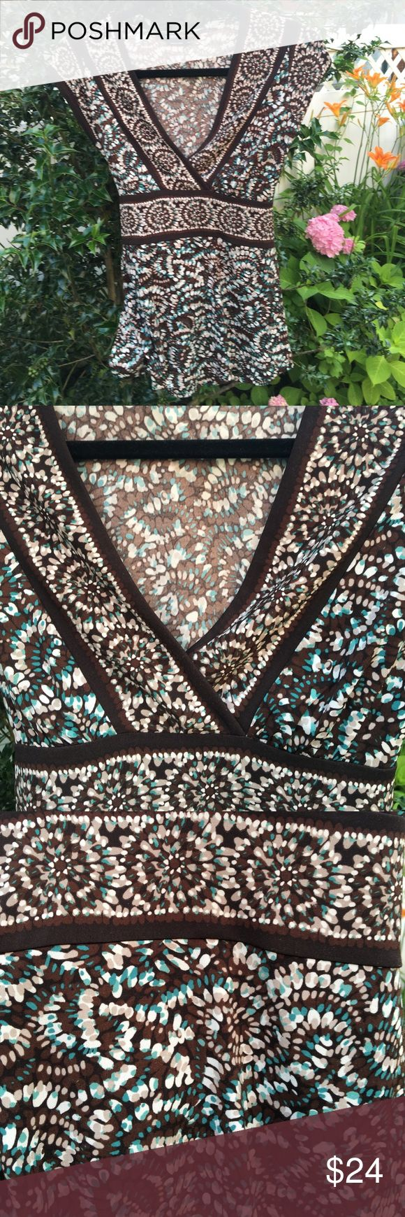 BCBG cap sleeve summer top Gorgeous brown and turquoise pattern, fun print, well-cared for. Tie back, v-neck style. BCBGMaxAzria Tops Tees - Short Sleeve
