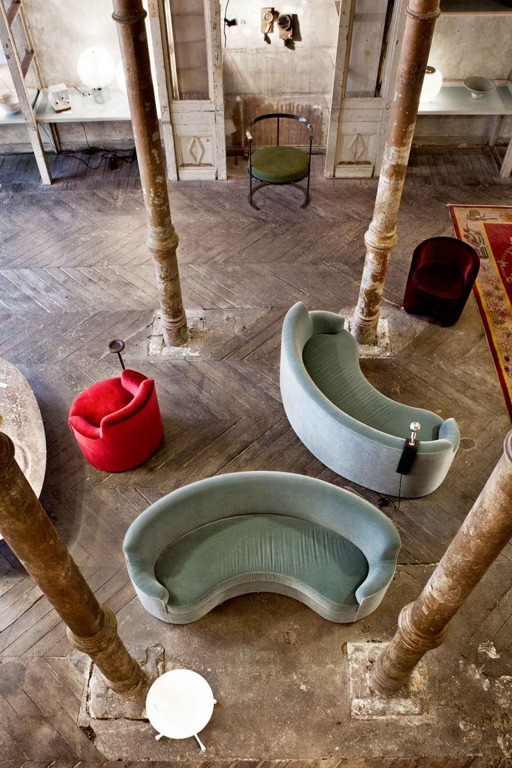 Treasures from many eras brought together across space & time, amid decayed splendor of 19th century architectural ruin, curated by Gisbert Pöppler & vintage furniture dealer, Erik Hofstetter.