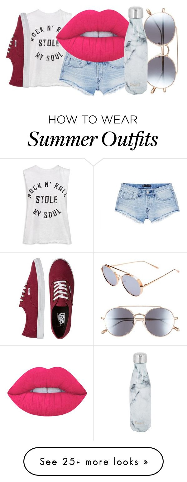 """Summer Outfit"" by ria-c on Polyvore featuring Sans Souci, 3x1, Lime Crime, Bonnie Clyde, S'well and Vans"