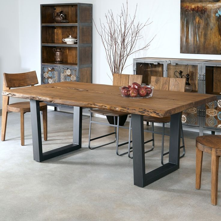Sequoia Wood & Iron Dining Table In Light Brown by Coast to Coast