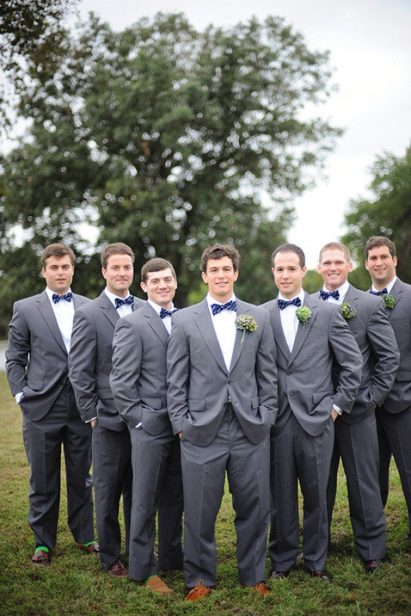 gray suits and blue bowties!